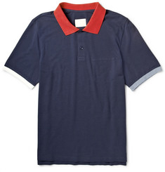 Band of Outsiders Contrast-Trim Cotton-Piqué Polo Shirt