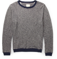 Band of Outsiders Striped Cotton and Wool-Blend Sweater