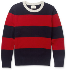 Band of Outsiders Striped Brushed-Wool Sweater
