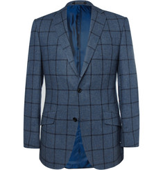 Richard James Blue Windowpane-Check Wool and Cashmere-Blend Blazer
