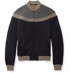 Kolor Panelled Bonded-Jersey and Knitted Wool-Blend Bomber Jacket