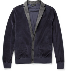 Kolor Velour and Wool-Blend Lapel Cardigan