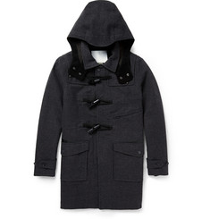 White Mountaineering Houndstooth Wool and Cotton-Blend Duffel Coat