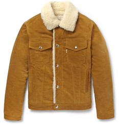 Maison Kitsuné Faux Shearling and Corduroy Aviator Jacket
