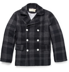 Maison Kitsuné Checked Wool Peacoat
