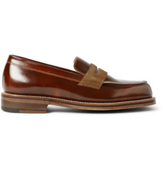 Grenson G-Lab Suede-Trimmed Leather Penny Loafers