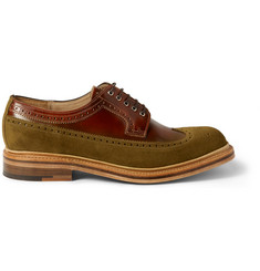 Grenson G-Lab Burnished-Leather and Suede Wingtip Brogues