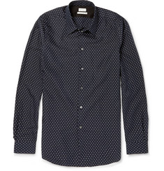 Paul Smith Navy Slim-Fit Cotton, Silk and Cashmere-Blend Shirt