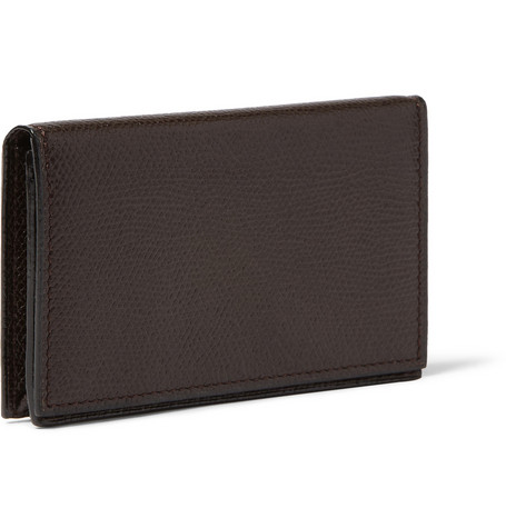 Valextra Cross-Grain Leather Business Card Holder
