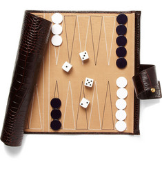 Smythson Mara Collection Crocodile-Embossed Leather Backgammon Travel Set