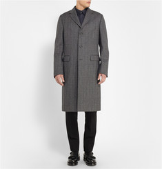 Calvin Klein Collection Woven Wool and Cotton-Blend Overcoat