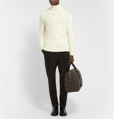Exemplaire Panelled-Knit Rollneck Cashmere Sweater