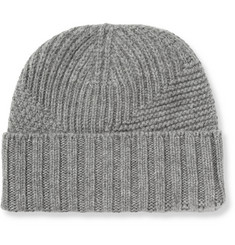 Exemplaire Panelled-Knit Cashmere Beanie Hat