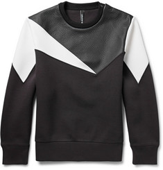 Neil Barrett Panelled Grained-Leather and Bonded-Jersey Sweatshirt