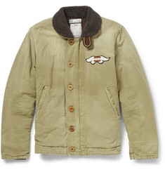 Visvim Deckhand Shearling-Collar Cotton and Linen-Blend Jacket
