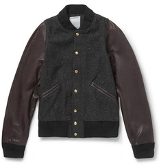 Visvim Barnstorm Leather and Wool-Blend Bomber Jacket
