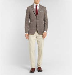 Boglioli Brown Check Wool and Cotton-Blend Jersey Blazer
