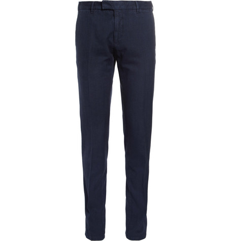 Boglioli Regular-Fit Herringbone Cotton Trousers