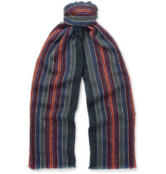 Boglioli Striped Woven Wool-Blend Scarf