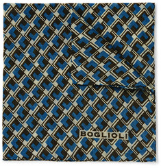 Boglioli Geometric-Patterned Wool Pocket Square