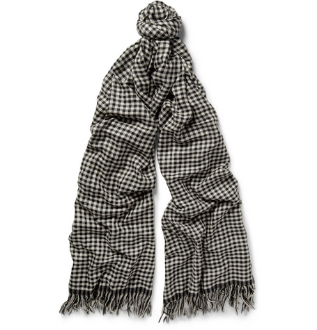 The Elder Statesman Extra-Long Checked Woven-Cashmere Scarf