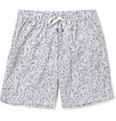 Dan Ward - Mid-Length Leaf-Print Swim Shorts