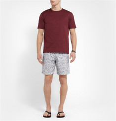 Dan Ward Mid-Length Leaf-Print Swim Shorts