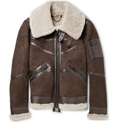 Belstaff Bridlington Shearling-Lined Nubuck Biker Jacket