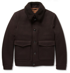 Hardy Amies Shearling-Collar Wool Bomber Jacket