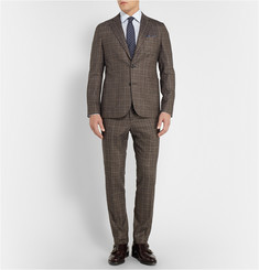 Hardy Amies Grey Slim-Fit Prince of Wales Check Wool-Blend Suit Trousers