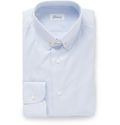 Brioni Blue Striped Cotton Shirt