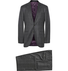 Hackett Grey Mayfair Slim-Fit Windowpane Check Wool Suit