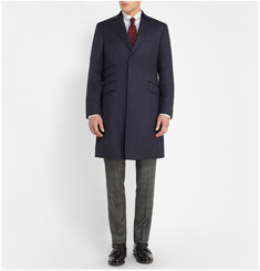 Hackett Velvet-Trimmed Virgin Wool-Twill Overcoat