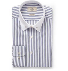 Hackett Blue Striped Collar-Pin Cotton Shirt