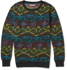 Levi's Made & Crafted Patterned Cotton-Fleece Crew-Neck Sweater