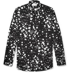 Saint Laurent Square-Print Silk Shirt