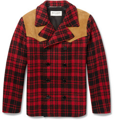 Saint Laurent Suede-Panelled Check Wool Lumberjack Jacket