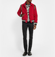 Saint Laurent Calf-Hair Panelled Wool-Blend Bomber Jacket