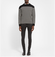 Saint Laurent Striped Cotton and Wool-Blend Sweater