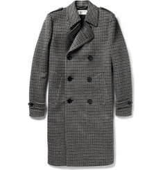 Saint Laurent Houndstooth Brushed-Wool Overcoat