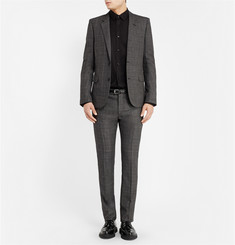 Saint Laurent Grey Slim-Fit Check Wool Suit Trousers