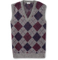 Saint Laurent Argyle Mohair-Blend Sleeveless Sweater