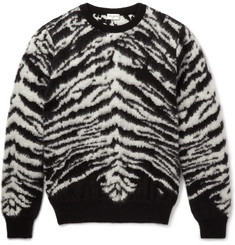 Saint Laurent Zebra-Pattern Mohair-Blend Sweater