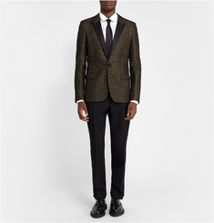 Saint Laurent Black Metallic-Flecked Wool-Blend Tuxedo Jacket