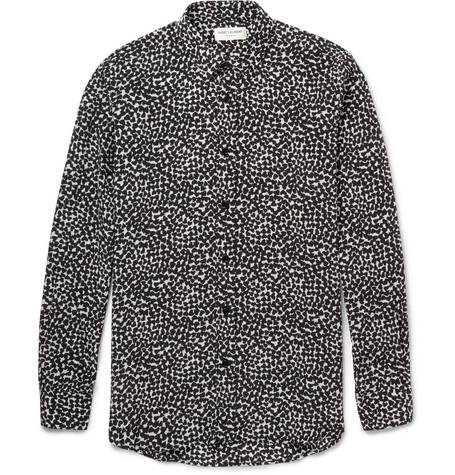Saint Laurent Heart-Print Silk Shirt