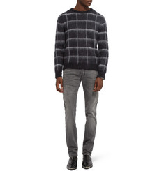 Saint Laurent Check Mohair-Blend Sweater