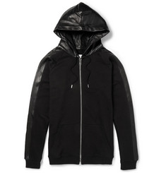 Saint Laurent Leather-Trimmed Cotton Hoodie