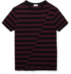 Saint Laurent Striped Panelled Cotton-Jersey T-Shirt