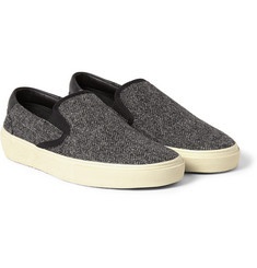 Saint Laurent Leather-Trimmed Herringbone Slip-On Sneakers