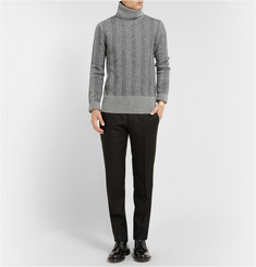 Alexander McQueen Herringbone-Knit Wool Rollneck Sweater